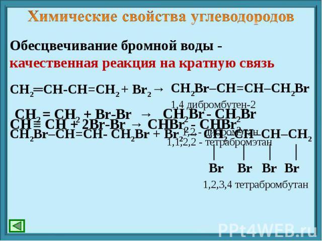 Химические свойства углеводородов Обесцвечивание бромной воды - качественная реакция на кратную связь СН2═СН-СН=СН2 + Br2→ СН ≡ СН + 2Br-Br → СНBr2 - СНBr2 СН2Br–CH=CH- СН2Br + Br2 → СН2–CH–CH–СН2 │ │ │ │ Br Br Br Br 1,2,3,4 тетрабромбутан