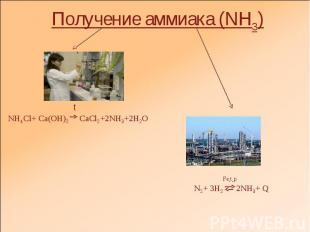 Получение аммиака (NH3) tNH4Cl+ Ca(OH)2 CaCl2+2NH3+2H2O Fe,t,pN2+ 3H2 2NH3+ Q