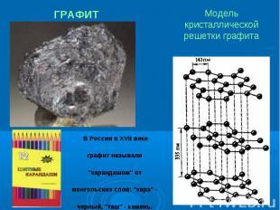 """Модель кристаллической решетки графита В России в XVII веке графит называли """"кар"""