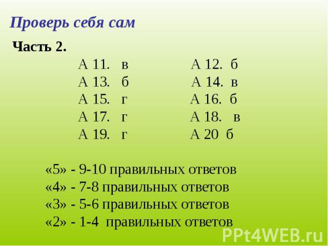 Часть 2. А 11. в А 12. бА 13. б А 14. вА 15. г А 16. бА 17. г А 18. вА 19. г А 20 б«5» - 9-10 правильных ответов«4» - 7-8 правильных ответов«3» - 5-6 правильных ответов«2» - 1-4 правильных ответов