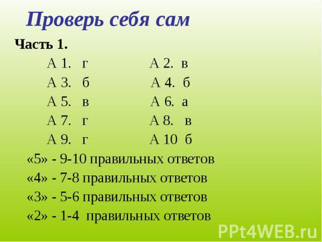 Проверь себя сам Часть 1. А 1. г А 2. вА 3. б А 4. бА 5. в А 6. аА 7. г А 8. вА 9. г А 10 б«5» - 9-10 правильных ответов«4» - 7-8 правильных ответов«3» - 5-6 правильных ответов«2» - 1-4 правильных ответов