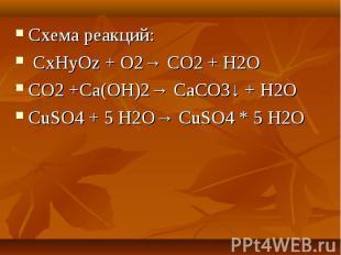 Схема реакций: CxHyOz + O2→ CO2 + H2OCO2 +Сa(OH)2→ СaCO3↓ + H2OCuSO4 + 5 H2O→ Cu