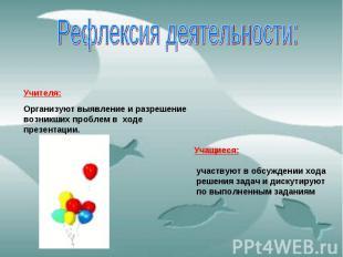 Рефлексия деятельности: Учителя: Организуют выявление и разрешение возникших про