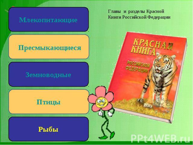 Главы и разделы Красной Книги Российской Федерации