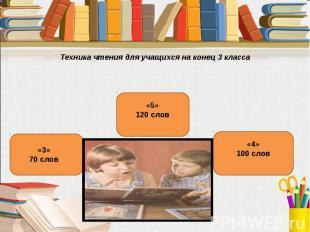 Техника чтения для учащихся на конец 3 класса