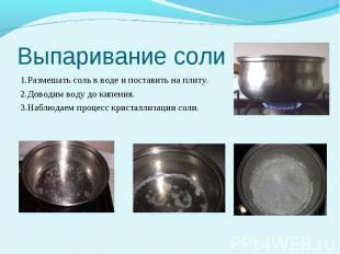 Выпаривание соли 1.Размешать соль в воде и поставить на плиту. 2.Доводим воду до
