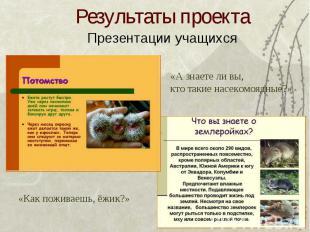 Результаты проекта Презентации учащихся«А знаете ли вы,кто такие насекомоядные?»