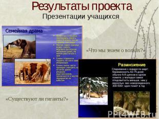 Результаты проекта Презентации учащихся «Что мы знаем о волках?» «Существуют ли