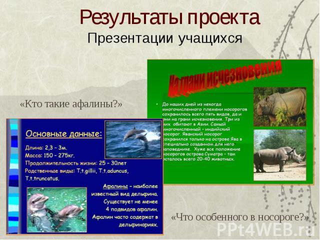 Результаты проекта Презентации учащихся «Кто такие афалины?» «Что особенного в носороге?»