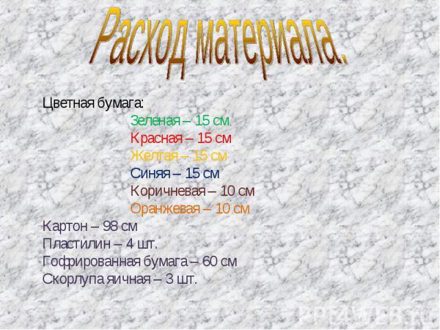Расход материала. Цветная бумага:Зеленая – 15 смКрасная – 15 смЖелтая – 15 смСиняя – 15 см Коричневая – 10 смОранжевая – 10 смКартон – 98 смПластилин – 4 шт.Гофрированная бумага – 60 смСкорлупа яичная – 3 шт.