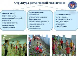 Структура ритмической гимнастики Вводная часть: подготовка ЦНС, эмоциональный на
