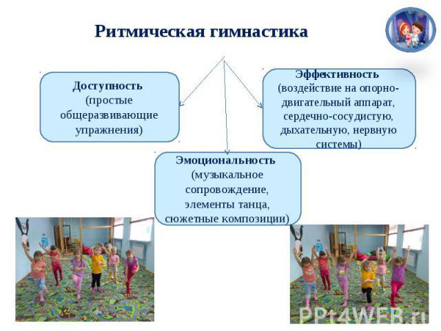 Ритмическая гимнастика Доступность (простые общеразвивающие упражнения) Эффективность (воздействие на опорно-двигательный аппарат, сердечно-сосудистую, дыхательную, нервную системы) Эмоциональность (музыкальное сопровождение, элементы танца, сюжетны…