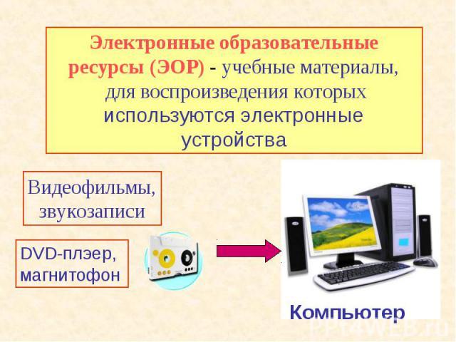 Электронные образовательные ресурсы (ЭОР) - учебные материалы, для воспроизведения которых используются электронные устройства Видеофильмы,звукозаписи DVD-плэер,магнитофон