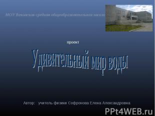 МОУ Вековская средняя общеобразовательная школа Удивительный мир воды Автор: учи