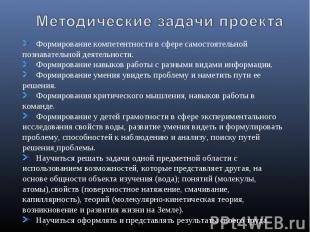 Методические задачи проекта Формирование компетентности в сфере самостоятельной