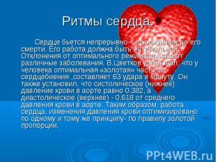 Ритмы сердца. Сердце бьется непрерывно – от рождения до его смерти. Его работа д