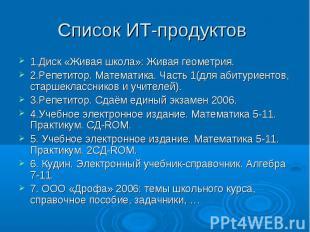 Список ИТ-продуктов 1.Диск «Живая школа»: Живая геометрия.2.Репетитор. Математик