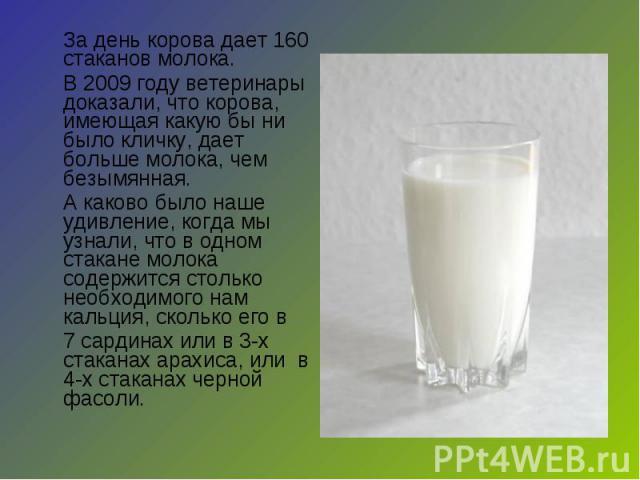 За день корова дает 160 стаканов молока. В 2009 году ветеринары доказали, что корова, имеющая какую бы ни было кличку, дает больше молока, чем безымянная.А каково было наше удивление, когда мы узнали, что в одном стакане молока содержится столько не…