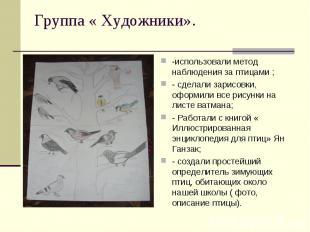 -использовали метод наблюдения за птицами ;- сделали зарисовки, оформили все рис