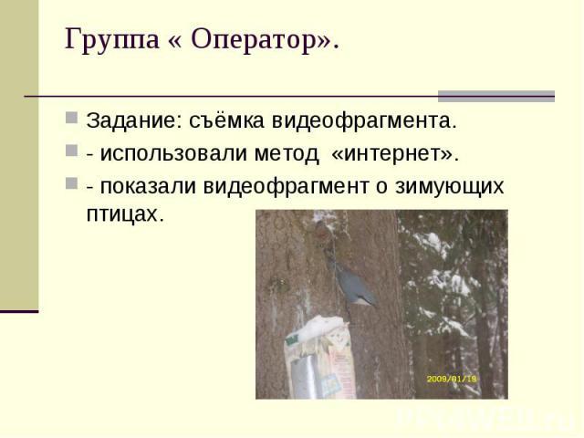 Задание: съёмка видеофрагмента.- использовали метод «интернет».- показали видеофрагмент о зимующих птицах.