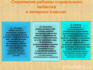 Стратегия работы социального педагога в вечерних классах 1) Понятьнайти «ключ» к