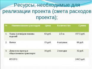 Ресурсы, необходимые для реализации проекта (смета расходов проекта);