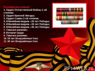 Расшифровка планки: 1. Орден Отечественной Войны 1-ой степени;2. Орден Красной З