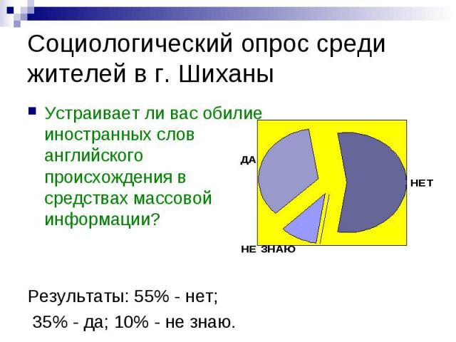 Социологический опрос среди жителей в г. Шиханы Устраивает ли вас обилие иностранных слов английского происхождения в средствах массовой информации?Результаты: 55% - нет; 35% - да; 10% - не знаю.