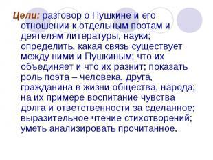 Цели: разговор о Пушкине и его отношении к отдельным поэтам и деятелям литератур