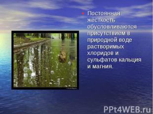 Постоянная жёсткость обусловливаются присутствием в природной воде растворимых х