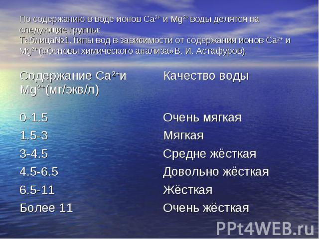 По содержанию в воде ионов Ca2+ и Mg2+ воды делятся на следующие группы: Таблица№1.Типы вод в зависимости от содержания ионов Ca2+ и Mg2+ («Основы химического анализа»В. И. Астафуров).