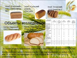 Хлеб «Сельский»;ОАО Хлебозавод №3 Объекты исследования Батон Нарезной;ОАО Хлебоз