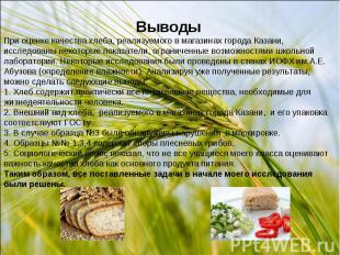 ВыводыПри оценке качества хлеба, реализуемого в магазинах города Казани, исследо