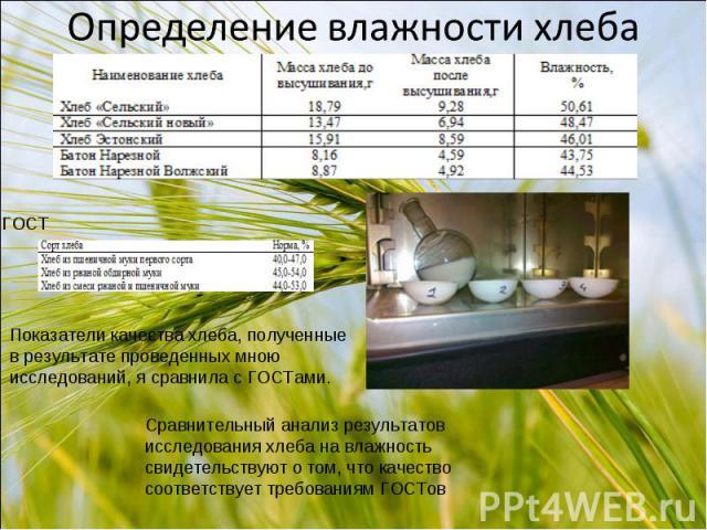 Показатели качества хлеба, полученные в результате проведенных мною исследований, я сравнила с ГОСТами. Сравнительный анализ результатов исследования хлеба на влажность свидетельствуют о том, что качество соответствует требованиям ГОСТов