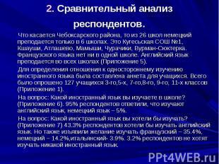 2. Сравнительный анализ респондентов. Что касается Чебоксарского района, то из 2