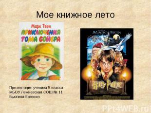 Мое книжное лето Презентация ученика 5 классаМБОУ Лежневская СОШ № 11Вьюгина Евг
