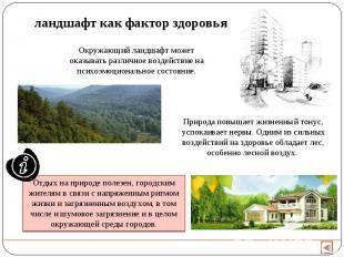 ландшафт как фактор здоровья Окружающий ландшафт может оказывать различное возде