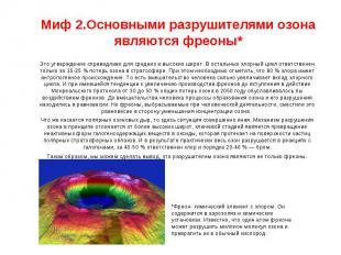 Миф 2.Основными разрушителями озона являются фреоны* Это утверждение справедливо