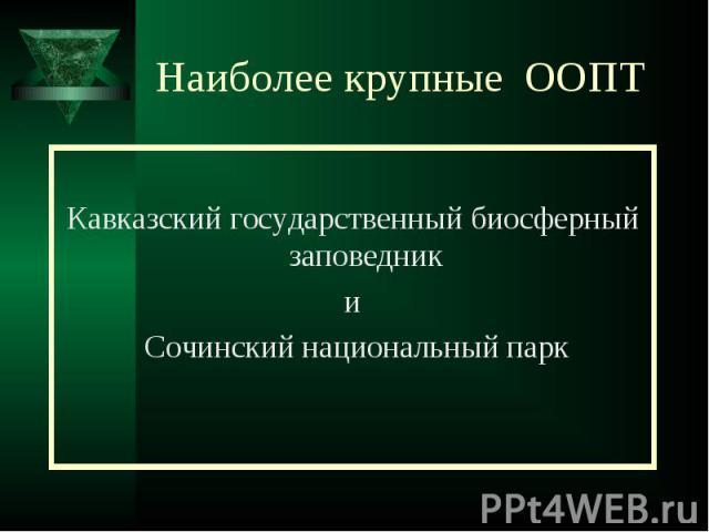 Наиболее крупные ООПТ Кавказский государственный биосферный заповедники Сочинский национальный парк