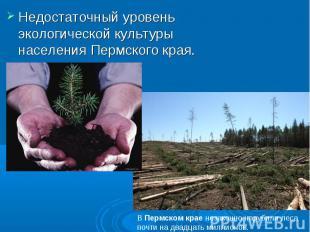 Недостаточный уровень экологической культуры населения Пермского края. ВПермско