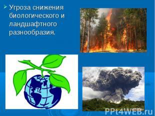 Угроза снижения биологического и ландшафтного разнообразия.