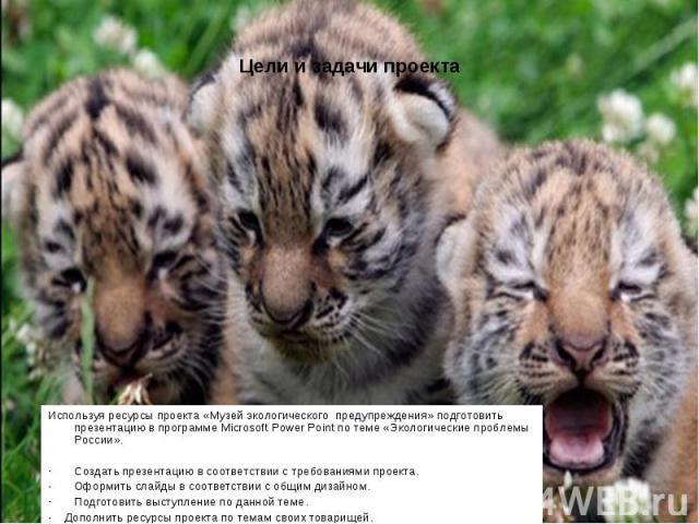 Используя ресурсы проекта «Музей экологического предупреждения» подготовить презентацию в программе Microsoft Power Point по теме «Экологические проблемы России».Создать презентацию в соответствии с требованиями проекта.Оформить слайды в соответстви…