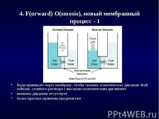 4. F(orward) O(smosis), новый мембранный процесс - 1 Вода приникает через мембра