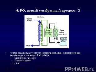 4. FO, новый мембранный процесс - 2 Чистая вода получается путем концентрировани