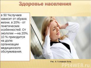 Здоровье населения в 50 %случаев зависит от образа жизни, в 20% - от генетически