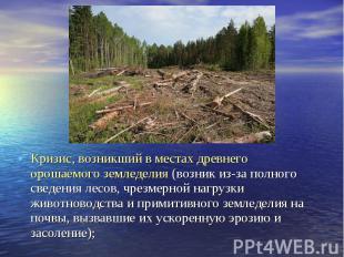 Кризис, возникший в местах древнего орошаемого земледелия (возник из-за полного