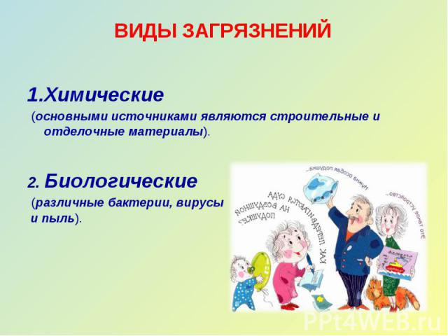 ВИДЫ ЗАГРЯЗНЕНИЙ 1.Химические (основными источниками являются строительные и отделочные материалы).2. Биологические (различные бактерии, вирусы и пыль).