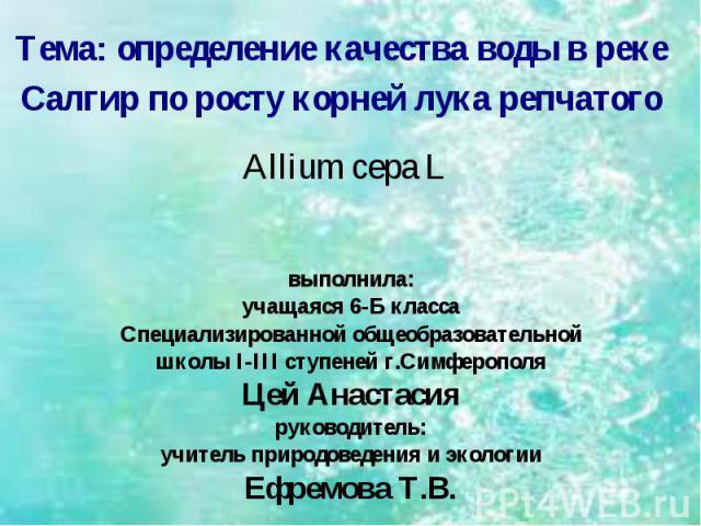 Тема: определение качества воды в реке Салгир по росту корней лука репчатого Allium cepa L выполнила:учащаяся 6-Б классаСпециализированной общеобразовательнойшколы I-III ступеней г.СимферополяЦей Анастасияруководитель:учитель природоведения и эколог…