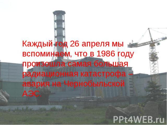 Каждый год 26 апреля мы вспоминаем, что в 1986 году произошла самая большая радиационная катастрофа – авария на Чернобыльской АЭС.