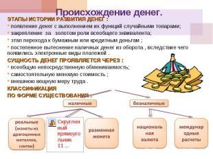 Этапы истории развития денег : появление денег с выполнением их функций случайны